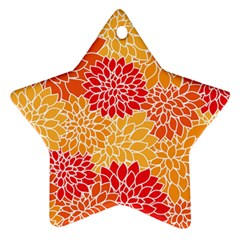 Vintage Floral Flower Red Orange Yellow Star Ornament (two Sides)  by AnjaniArt