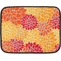 Vintage Floral Flower Red Orange Yellow Fleece Blanket (mini) by AnjaniArt