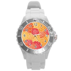 Vintage Floral Flower Red Orange Yellow Round Plastic Sport Watch (l) by AnjaniArt