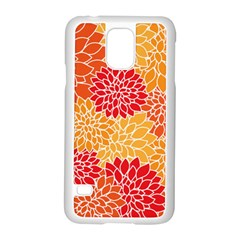 Vintage Floral Flower Red Orange Yellow Samsung Galaxy S5 Case (white) by AnjaniArt