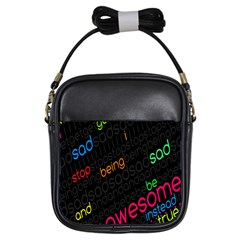 Words Jpeg Girls Sling Bags by AnjaniArt
