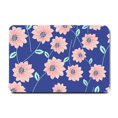 Seamless Blue Floral Small Doormat  by AnjaniArt
