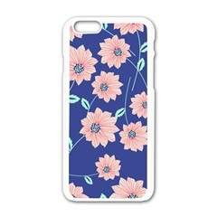 Seamless Blue Floral Apple iPhone 6/6S White Enamel Case by AnjaniArt