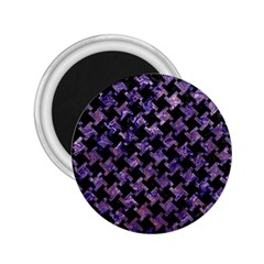 Houndstooth2 Black Marble & Purple Marble 2 25  Magnet by trendistuff