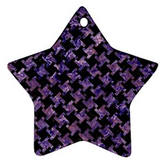 Houndstooth2 Black Marble & Purple Marble Star Ornament (two Sides) by trendistuff