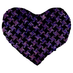 Houndstooth2 Black Marble & Purple Marble Large 19  Premium Heart Shape Cushion by trendistuff