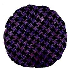 Houndstooth2 Black Marble & Purple Marble Large 18  Premium Flano Round Cushion  by trendistuff