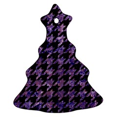 Houndstooth1 Black Marble & Purple Marble Christmas Tree Ornament (two Sides)