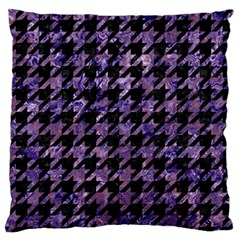 Houndstooth1 Black Marble & Purple Marble Large Flano Cushion Case (one Side) by trendistuff