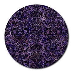 Damask2 Black Marble & Purple Marble (r) Round Mousepad by trendistuff