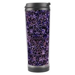 Damask2 Black Marble & Purple Marble (r) Travel Tumbler