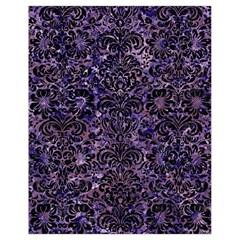 Damask2 Black Marble & Purple Marble (r) Drawstring Bag (small) by trendistuff
