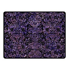 Damask2 Black Marble & Purple Marble Fleece Blanket (small) by trendistuff