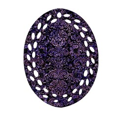 Damask2 Black Marble & Purple Marble Oval Filigree Ornament (two Sides) by trendistuff