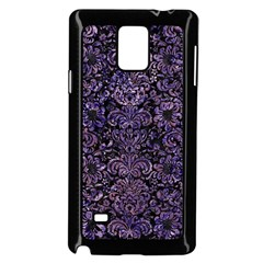 Damask2 Black Marble & Purple Marble Samsung Galaxy Note 4 Case (black) by trendistuff