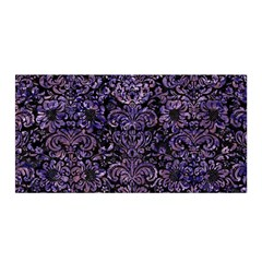 Damask2 Black Marble & Purple Marble Satin Wrap