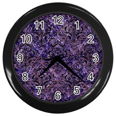 Damask1 Black Marble & Purple Marble (r) Wall Clock (black) by trendistuff
