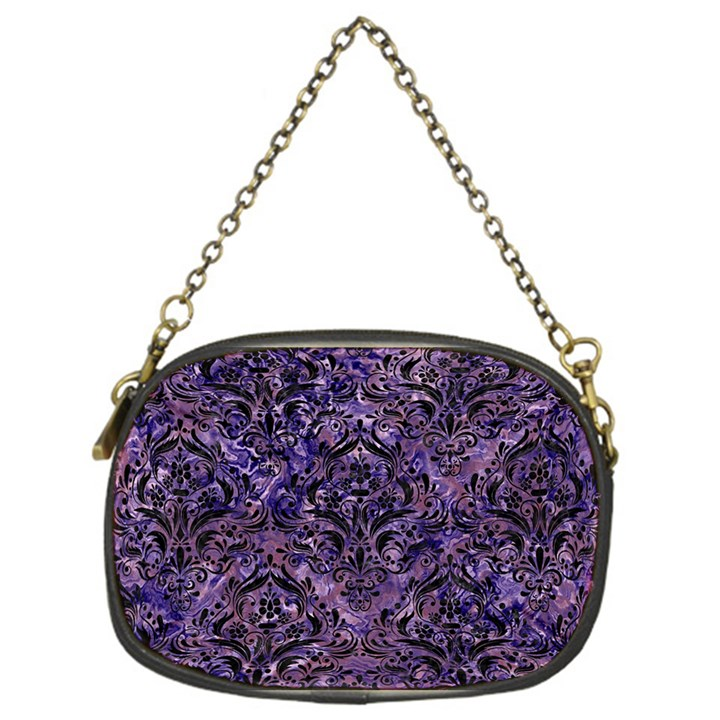 DAMASK1 BLACK MARBLE & PURPLE MARBLE (R) Chain Purse (One Side)