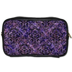 Damask1 Black Marble & Purple Marble (r) Toiletries Bag (one Side) by trendistuff