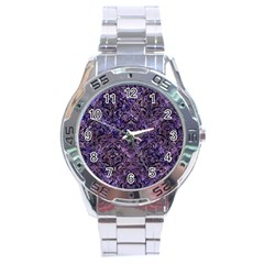 Damask1 Black Marble & Purple Marble (r) Stainless Steel Analogue Watch by trendistuff