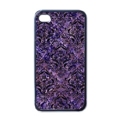 Damask1 Black Marble & Purple Marble (r) Apple Iphone 4 Case (black) by trendistuff