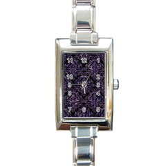 Damask1 Black Marble & Purple Marble Rectangle Italian Charm Watch by trendistuff