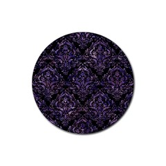 Damask1 Black Marble & Purple Marble Rubber Round Coaster (4 Pack) by trendistuff