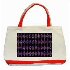 Diamond1 Black Marble & Purple Marble Classic Tote Bag (red) by trendistuff