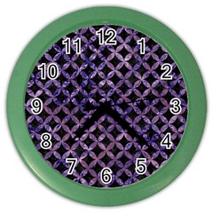 Circles3 Black Marble & Purple Marble Color Wall Clock by trendistuff