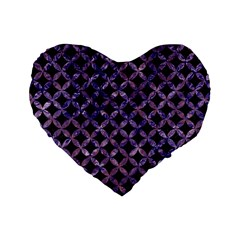 Circles3 Black Marble & Purple Marble Standard 16  Premium Heart Shape Cushion