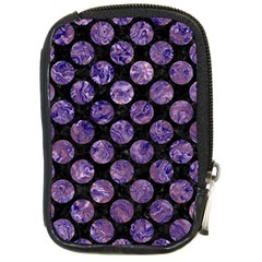 Circles2 Black Marble & Purple Marble Compact Camera Leather Case by trendistuff