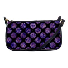 Circles2 Black Marble & Purple Marble Shoulder Clutch Bag