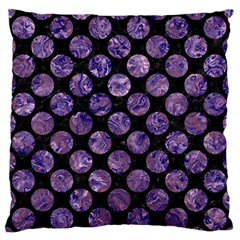 Circles2 Black Marble & Purple Marble Large Flano Cushion Case (one Side) by trendistuff