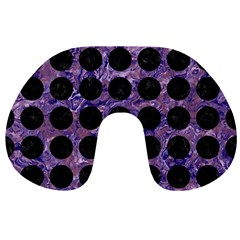 Circles1 Black Marble & Purple Marble (r) Travel Neck Pillow by trendistuff