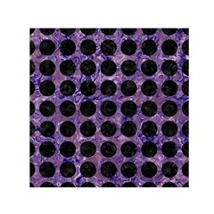 Circles1 Black Marble & Purple Marble (r) Small Satin Scarf (square) by trendistuff