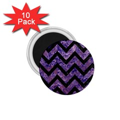 Chevron9 Black Marble & Purple Marble (r) 1 75  Magnet (10 Pack)  by trendistuff