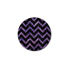 Chevron9 Black Marble & Purple Marble Golf Ball Marker (4 Pack) by trendistuff