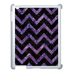 Chevron9 Black Marble & Purple Marble Apple Ipad 3/4 Case (white) by trendistuff