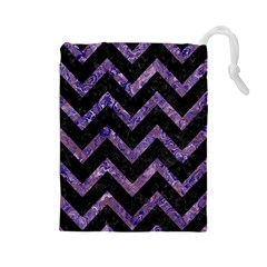 Chevron9 Black Marble & Purple Marble Drawstring Pouch (large)