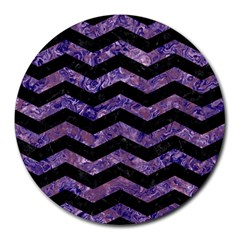 Chevron3 Black Marble & Purple Marble Round Mousepad by trendistuff
