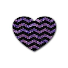Chevron3 Black Marble & Purple Marble Rubber Heart Coaster (4 Pack) by trendistuff
