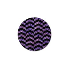 Chevron2 Black Marble & Purple Marble Golf Ball Marker (4 Pack) by trendistuff