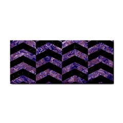 Chevron2 Black Marble & Purple Marble Hand Towel by trendistuff