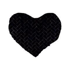 Brick2 Black Marble & Purple Marble Standard 16  Premium Flano Heart Shape Cushion  by trendistuff