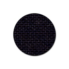 Brick1 Black Marble & Purple Marble Rubber Round Coaster (4 Pack) by trendistuff