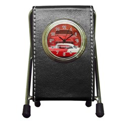 Classic Car Chevy Bel Air Dodge Red White Vintage Photography Pen Holder Desk Clocks by yoursparklingshop