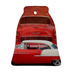 Classic Car Chevy Bel Air Dodge Red White Vintage Photography Bell Ornament (2 Sides) by yoursparklingshop