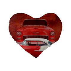 Classic Car Chevy Bel Air Dodge Red White Vintage Photography Standard 16  Premium Flano Heart Shape Cushions by yoursparklingshop