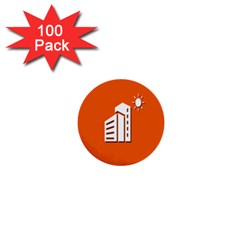 Building Orange Sun Copy 1  Mini Buttons (100 Pack)  by Jojostore