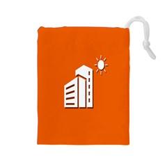 Building Orange Sun Copy Drawstring Pouches (large)